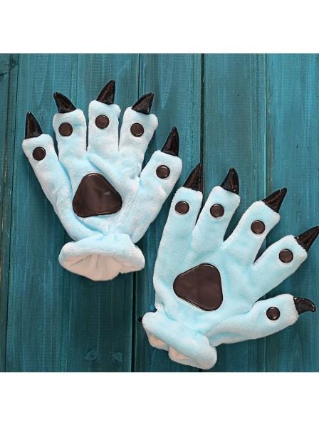 e07884a64 Sky blue Kigurumi Unisex Onesies Animal Hands Paw Flannel Cartoon Gloves