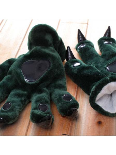 Dark green Kigurumi Unisex Onesies Animal Hands Paw Flannel Cartoon Gloves