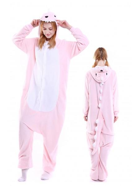 Pink Dinosaur Kigurumi Onesie Pajamas Soft Flannel Unisex Animal Costumes