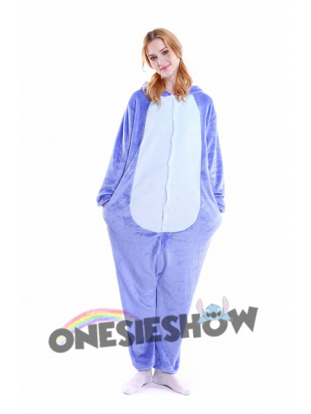 19f4378dea Blue Stitch Kigurumi Onesie Pajamas Soft Flannel Unisex Animal Costumes