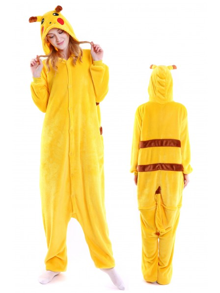 Pikachu Kigurumi Onesie Pajamas Soft Flannel Unisex Animal Costumes