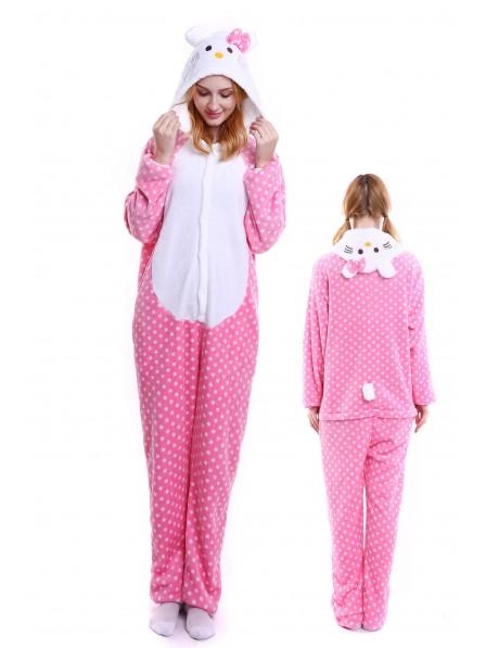 Pink Hello Kitty Kigurumi Onesie Pajamas Soft Flannel Unisex Animal Costumes