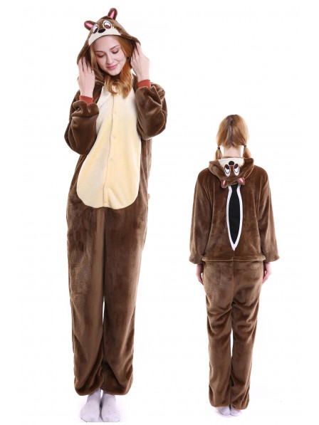 Chipmunks Kigurumi Onesie Pajamas Soft Flannel Unisex Animal Costumes