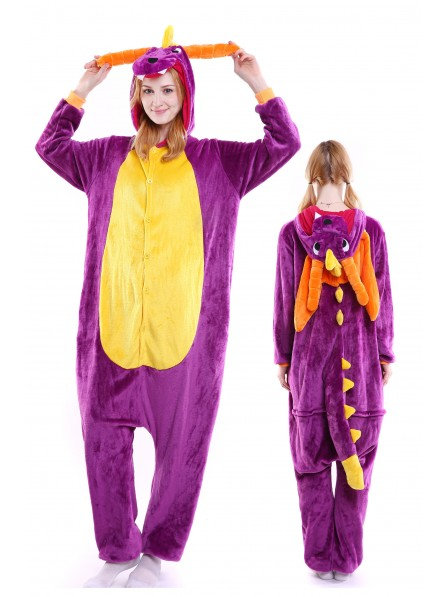 Purple Dragon Kigurumi Onesie Pajamas Soft Flannel Unisex Animal Costumes