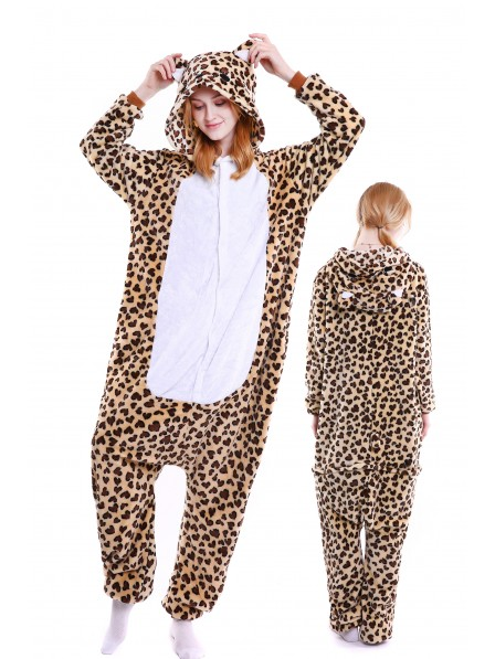 Leopard Bear Kigurumi Onesie Pajamas Soft Flannel Unisex Animal Costumes