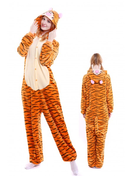 Tigger Kigurumi Onesie Pajamas Soft Flannel Unisex Animal Costumes