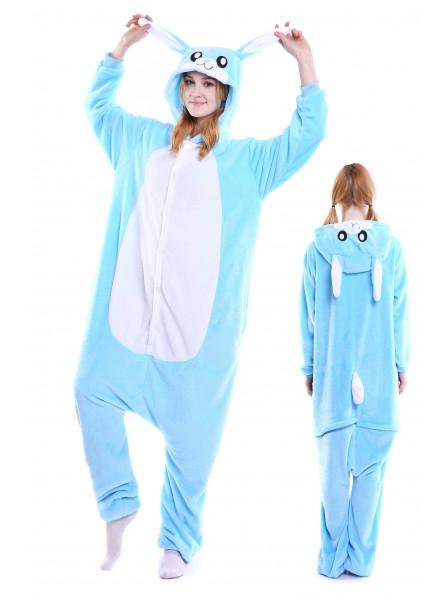Blue Rabbit Kigurumi Onesie Pajamas Soft Flannel Unisex Animal Costumes