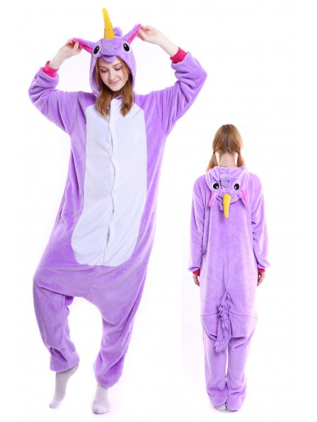 Purple Unicorn Kigurumi Onesie Pajamas Soft Flannel Unisex Animal Costumes