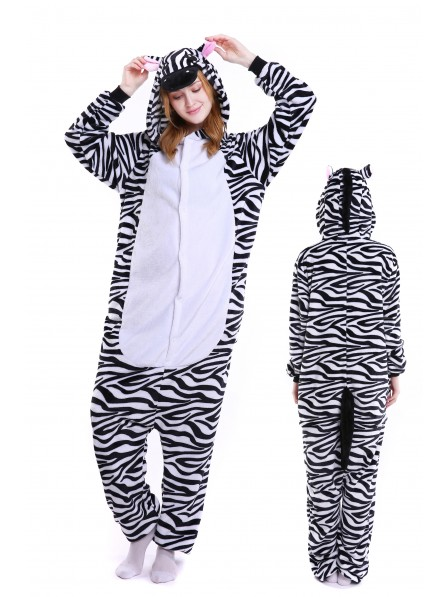 Zebra Kigurumi Onesie Pajamas Soft Flannel Unisex Animal Costumes