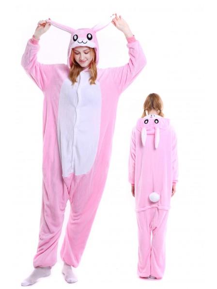 Pink Rabbit Kigurumi Onesie Pajamas Soft Flannel Unisex Animal Costumes