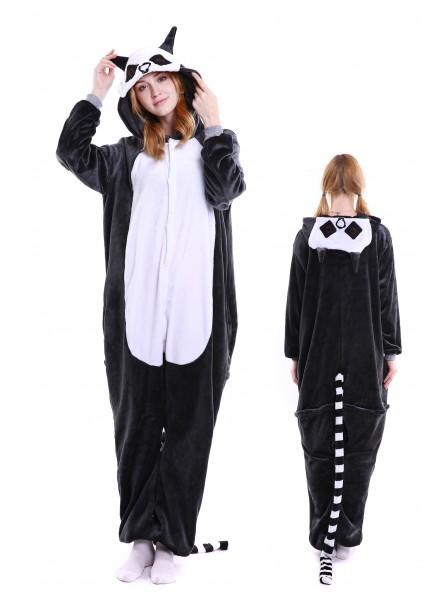 Lemur Kigurumi Onesie Pajamas Soft Flannel Unisex Animal Costumes