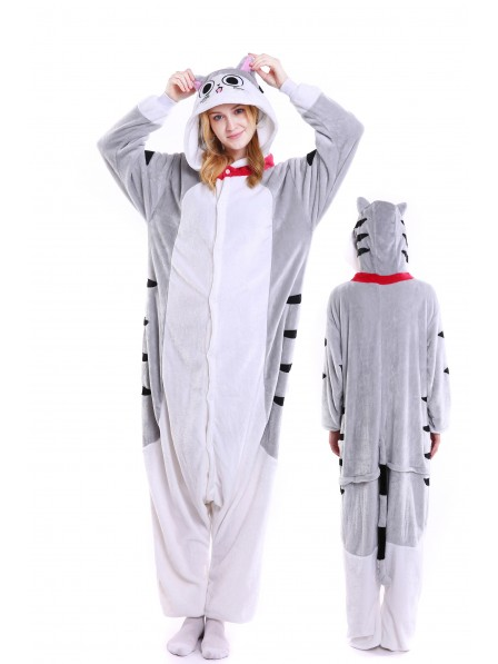 Cheese Cat Kigurumi Onesie Pajamas Soft Flannel Unisex Animal Costumes