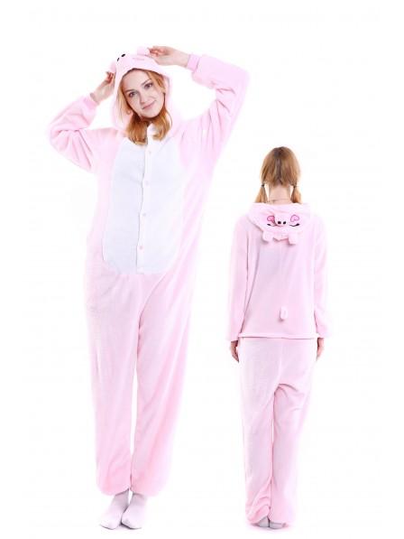 Pink Pig Kigurumi Onesie Pajamas Soft Flannel Unisex Animal Costumes