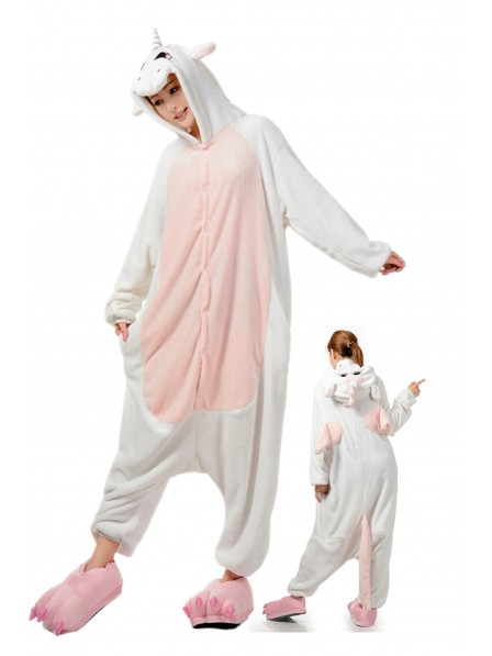 White Unicorn Kigurumi Onesie Pajamas Soft Flannel Unisex Animal Costumes
