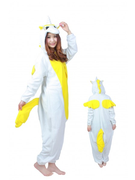 Yellow Unicorn Kigurumi Onesie Pajamas Soft Flannel Unisex Animal Costumes
