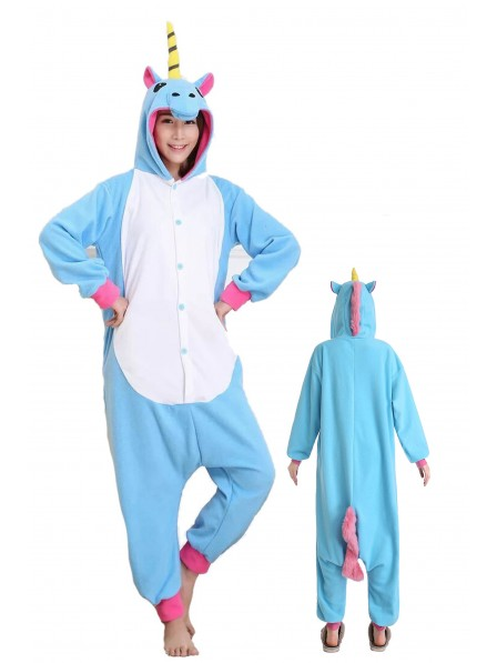 Blue Unicorn Kigurumi Onesie Pajamas Soft Flannel Unisex Animal Costumes