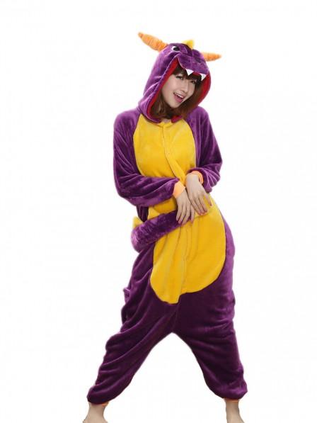 Purple Dragon Kigurumi Onesie Pajamas Soft Flannel Unisex Animal Costumes