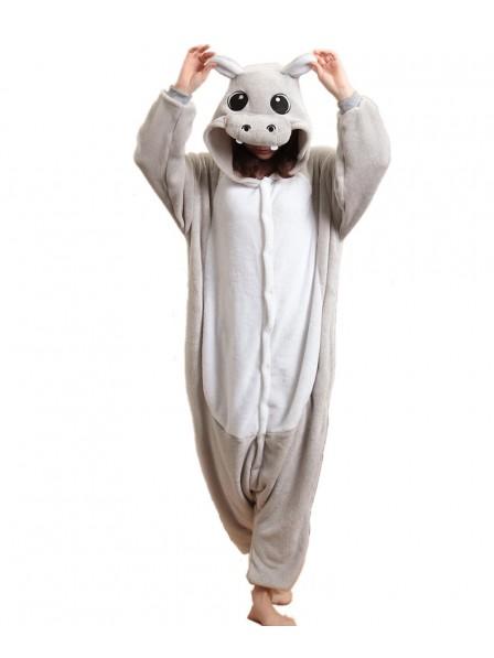 Grey Hippo Kigurumi Onesie Pajamas Soft Flannel Unisex Animal Costumes