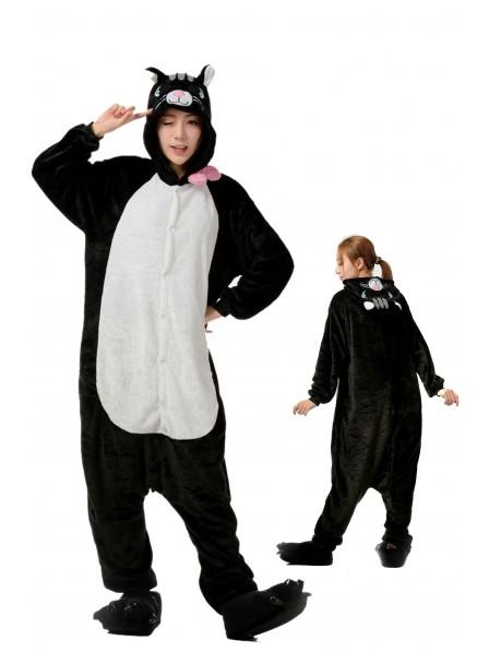 Black Cat Kigurumi Onesie Pajamas Soft Flannel Unisex Animal Costumes