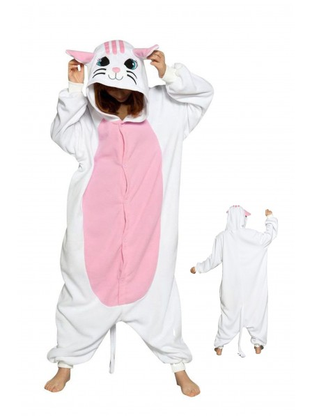 White Cat Kigurumi Onesie Pajamas Soft Flannel Unisex Animal Costumes