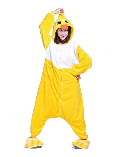 Yellow Duck Kigurumi Onesie Pajamas Soft Flannel Unisex Animal Costumes