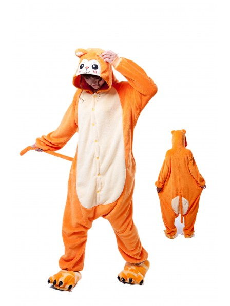 Golden Monkey Kigurumi Onesie Pajamas Soft Flannel Unisex Animal Costumes