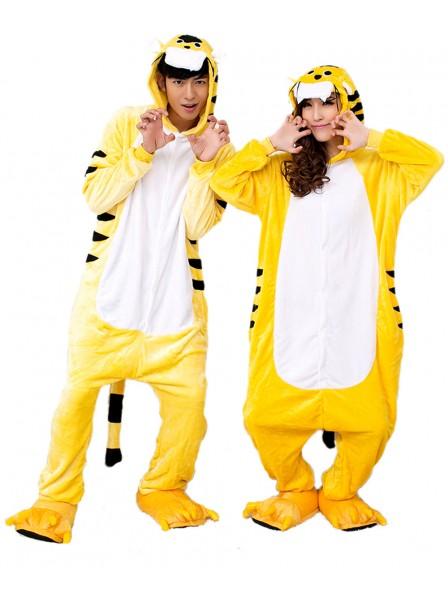 Yellow Tiger Kigurumi Onesie Pajamas Soft Flannel Unisex Animal Costumes