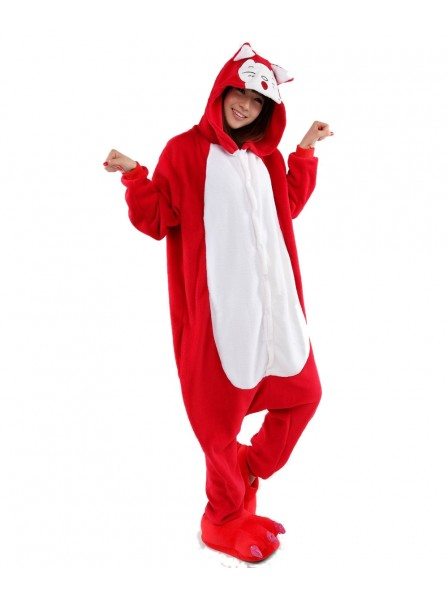Red Fox Kigurumi Onesie Pajamas Soft Flannel Unisex Animal Costumes