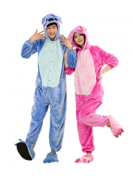 Pink Stitch Kigurumi Onesie Pajamas Soft Flannel Unisex Animal Costumes