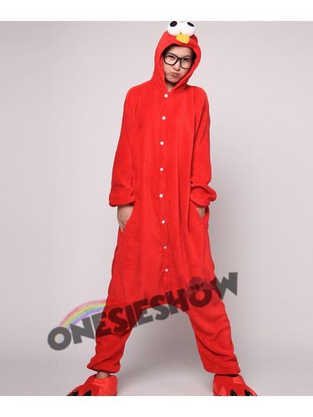 Red Cookie Monster Kigurumi Onesie Pajamas Soft Flannel Unisex Animal  Costumes 2baea2cde