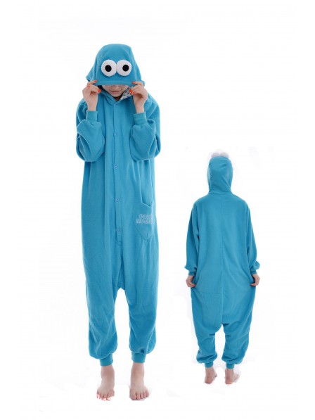 Blue Cookie Monster Kigurumi Onesie Pajamas Soft Flannel Unisex Animal Costumes