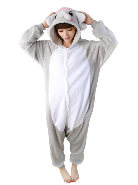 Grey Elephant Kigurumi Onesie Pajamas Soft Flannel Unisex Animal Costumes