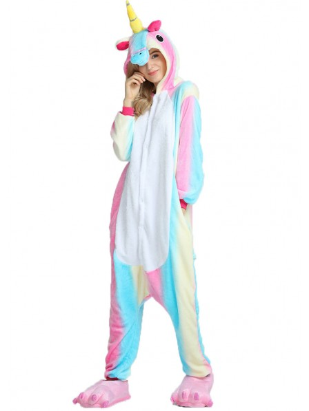 Colorful Unicorn Kigurumi Onesie Pajamas Soft Flannel Unisex Animal Costumes