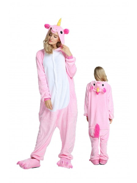Pink Unicorn Kigurumi Onesie Pajamas Soft Flannel Unisex Animal Costumes