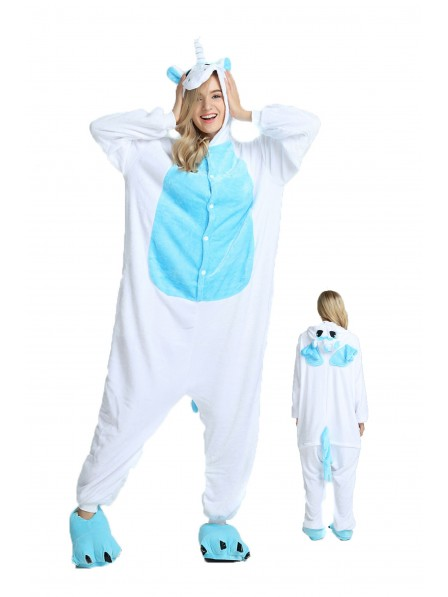 Blue Unicorn with Wings Kigurumi Onesie Pajamas Soft Flannel Unisex Animal Costumes