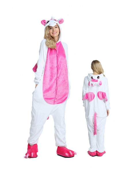 Rose Unicorn Kigurumi Onesie Pajamas Soft Flannel Unisex Animal Costumes