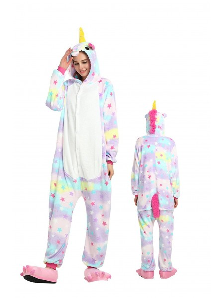 Star Unicorn Kigurumi Onesie Pajamas Soft Flannel Unisex Animal Costumes