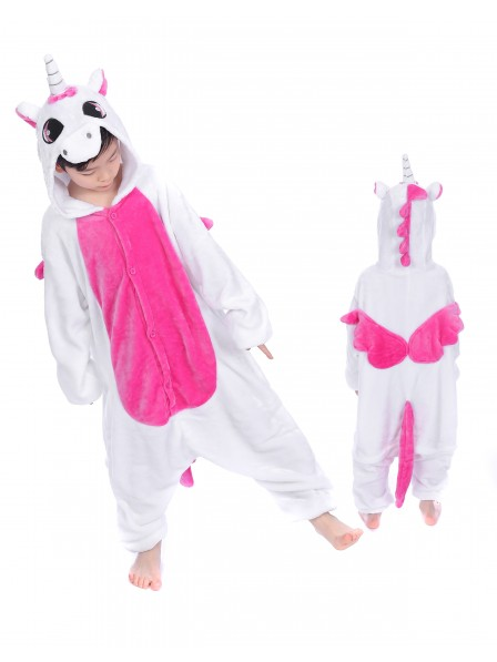 Rose Unicorn With Wings Onesie Kigurumi Pajamas Kids Animal Costumes For Teens