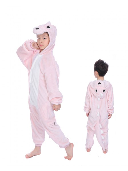 Pink Dinosaur Onesie Kigurumi Pajamas Kids Animal Costumes For Teens