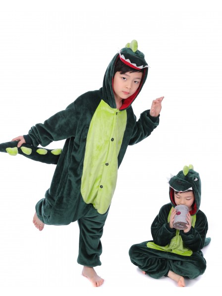 Green Dinosaur Onesie Kigurumi Pajamas Kids Animal Costumes For Teens