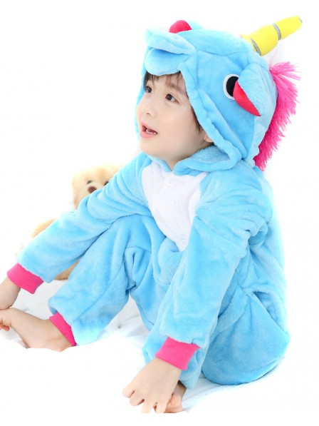 Blue Unicorn Onesie Kigurumi Pajamas Kids Animal Costumes For Teens