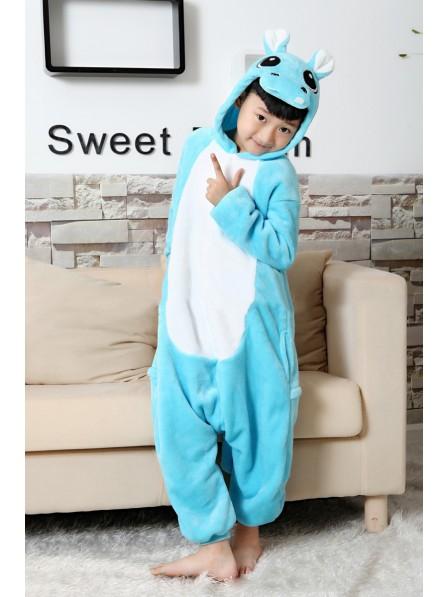 Blue Hippo Onesie Kigurumi Pajamas Kids Animal Costumes For Teens