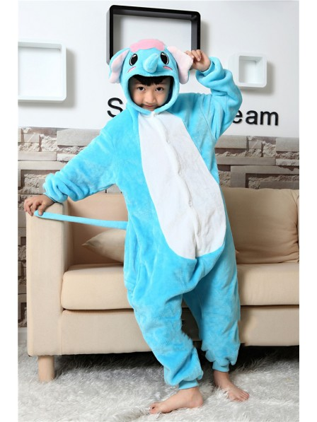 Blue Elephant Onesie Kigurumi Pajamas Kids Animal Costumes For Teens
