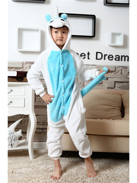 Blue Unicorn Onesie Kigurumi Pajamas Kids Animal Costumes For Teens