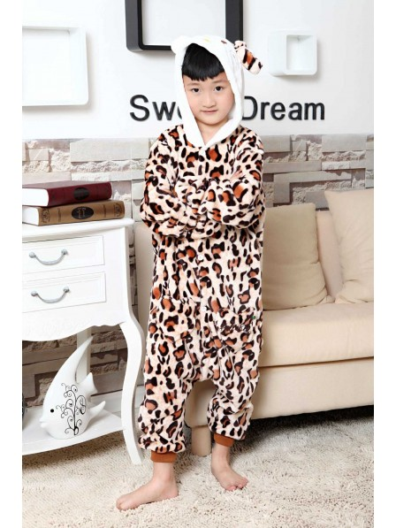 Leopard Kitty Onesie Kigurumi Pajamas Kids Animal Costumes For Teens