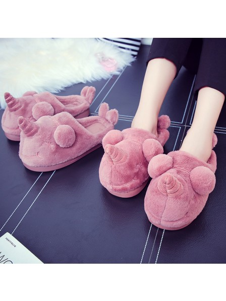 Fluffy Unicorn Slippers Cute Warm Winter Home Soft Household Slippers