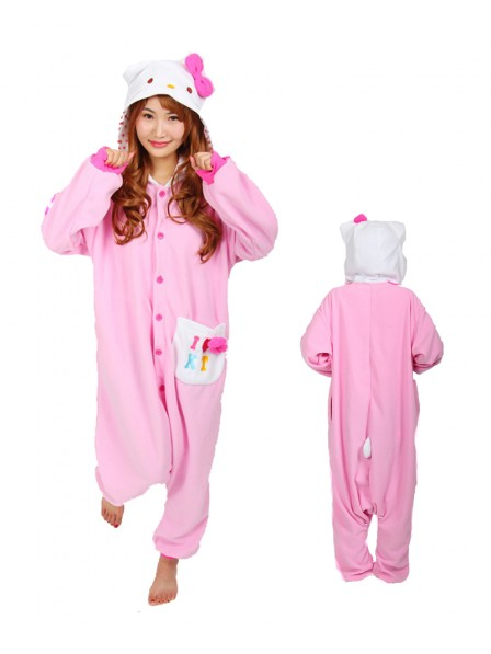 Pink Hello Kitty Kigurumi Onesie Pajama Animal Unisex Costumes