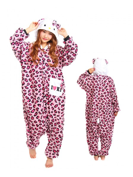 Pink Leopard Kitty Kigurumi Onesie Pajama Animal Unisex Costumes