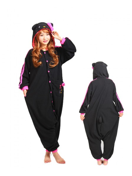 Black Hello Kitty Cat Kigurumi Onesie Pajama Animal Unisex Costumes