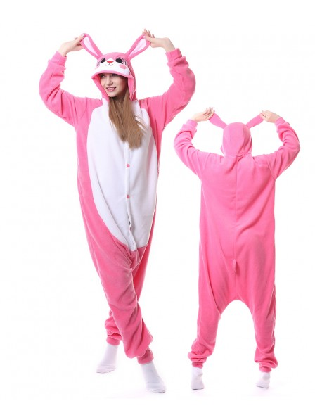 Pink Rabbit Kigurumi Onesie Pajamas Animal Unisex Costumes